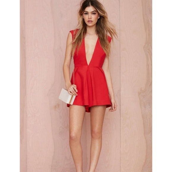 d6bd1a0960d New NASTY GAL Red In Deep Romper Jumpsuit NWT  A9